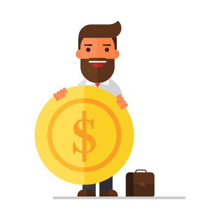 Businessman with a gold coin