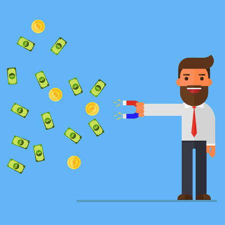 Businessman with magnet and Gold coin and money Illustration
