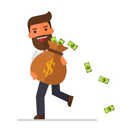 実業家ウォーキング ・現金お金の完全な大きな重い袋を運ぶ  イラスト・ベクター素材