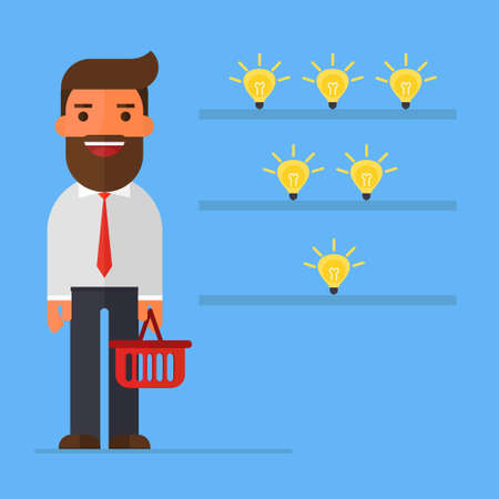 Businessman with Shopping Basket Standing in the Shop idea