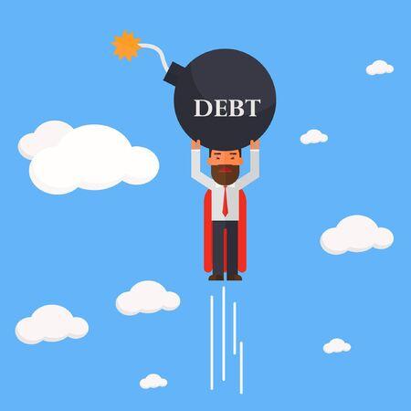 superhero businessman carry debt bomb Illustration