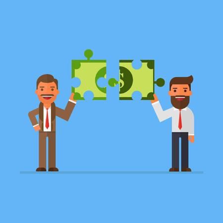 oldman: two business man holding puzzle block money Illustration
