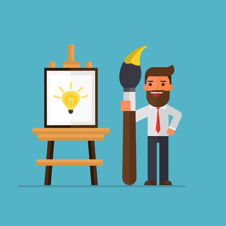 사업가 캔버스에 아이디어와 그림입니다.