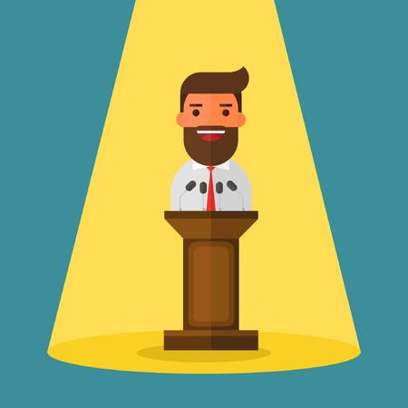 Businessman standing behind rostrum and giving a speech
