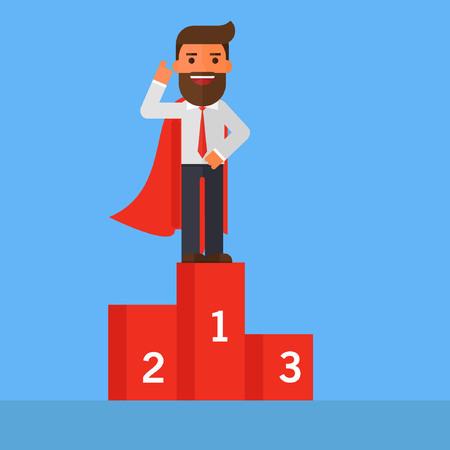 Businessman standing on the winning podium Ilustrace