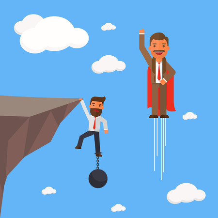Businessman superhero fly pass businessman hold on the cliff with burden Illustration