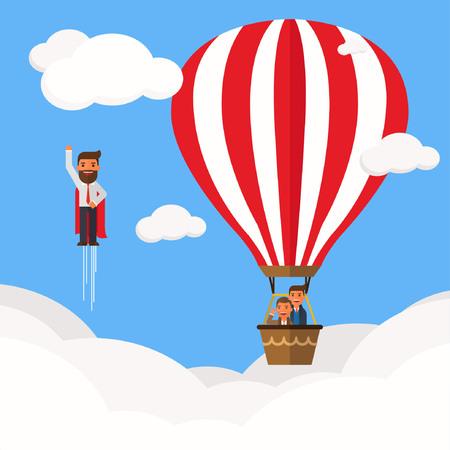 Businessman superhero fly pass Businessman in hot air balloon Illustration