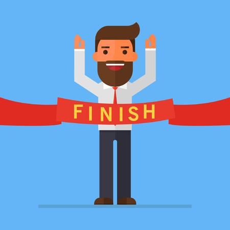 Geschäftsmann überqueren die Ziellinie mit Wort Finish