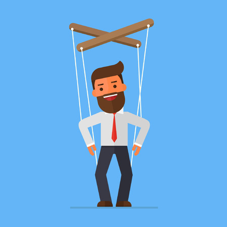 businessman does not know what he is puppet Illustration