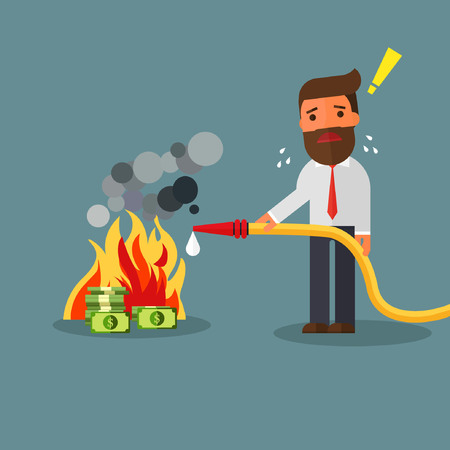 businessman fighting fire burning money