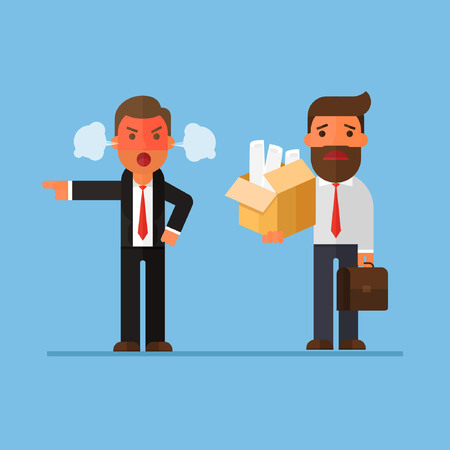 businessman getting fired by boss Illustration