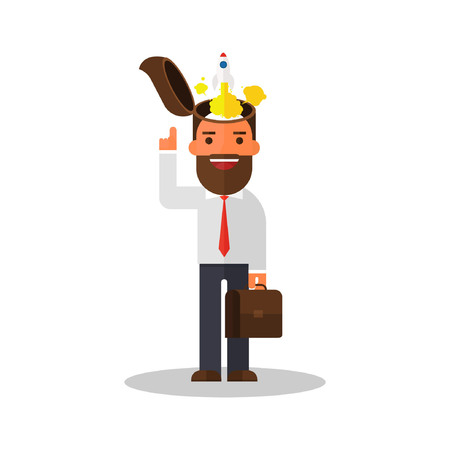 businessman with rocket ship launching from his head