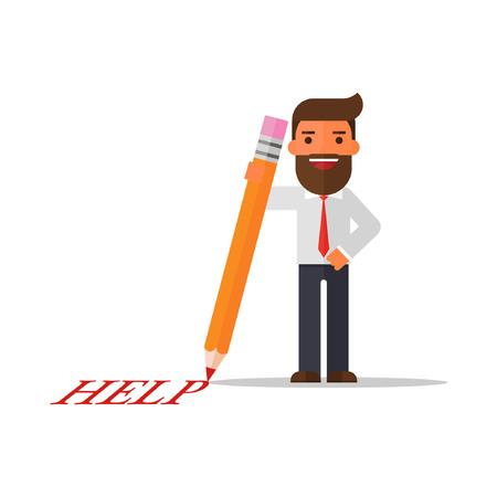 businessman writing help word Illustration
