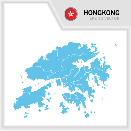 HongKong map and flag in white background