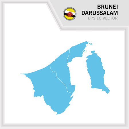Brunei Darussalam map and flag in white background