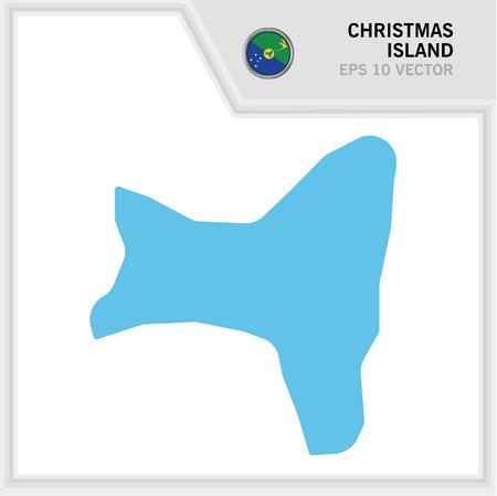 Christmas Island map and flag in white background Ilustração
