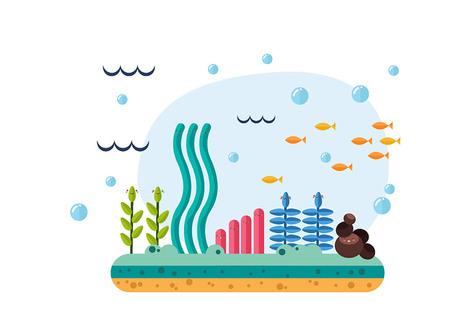 Beautiful set of elements of the underwater world Illustration