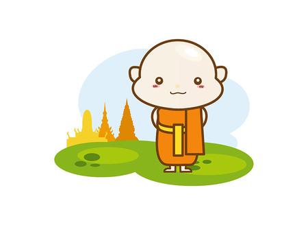 buddhist monk: Buddhist monk character, Buddhist monk cartoon on a white background Illustration