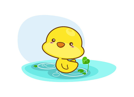 Cartoon duck swimming on a white background