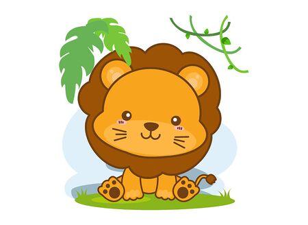 Cartoon happy lion on white background Illustration