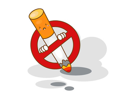 Cartoon no smoking sign on a white background