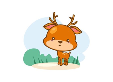cute: Cute baby deer cartoon on a white background