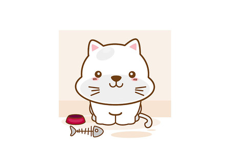 Happy emoticon cat on a white background