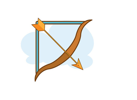 Illustration of isolated bow and arrow on white background Illustration