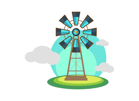 Landscape with windmill turbine structure over white background Illustration