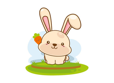 Weinig konijn met wortel op een witte achtergrond