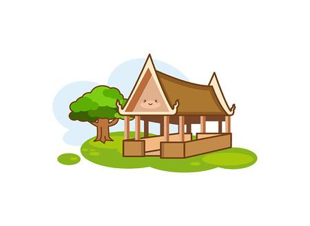 Icono de pabellón en estilo de dibujos animados aislado sobre fondo blanco