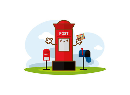 Red post box with vertical pillar letterbox on a white background Illustration