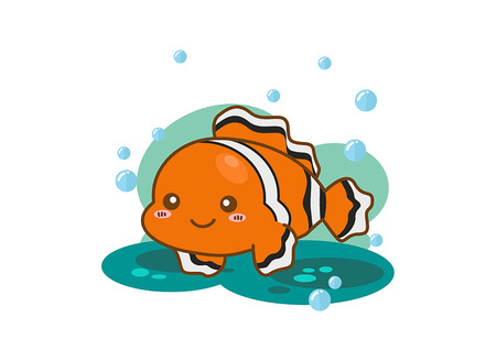 Reef fish or clown fish on white background Illustration