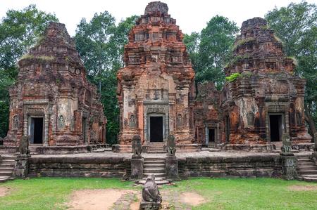 Ancient buddhist khmer temple in Angkor Wat, Cambodia. Preah Ko Prasat Stock Photo
