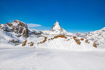 Matterhorn peak in sunny day, Switzerland. Matterhorn (peak Cervino) in Swiss Alps.