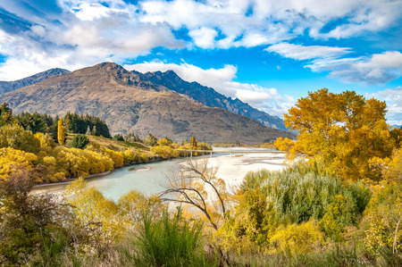 road bridge over dunstan lake near Queenstown New Zealand, south island Banco de Imagens