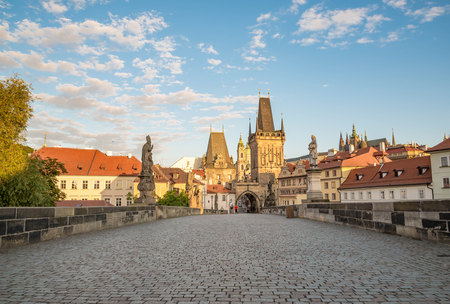 View of Prague, Charles bridge, Vltava river, St. Vitus cathedral on a sunny day Stock Photo