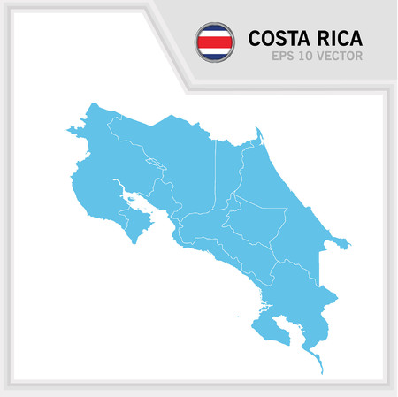 CostaRica map and flag in white background
