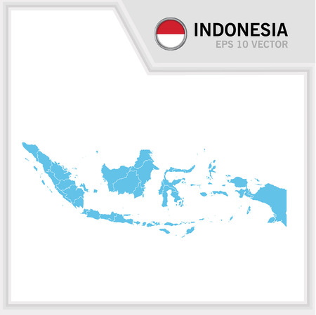 Indonesia map and flag in white background