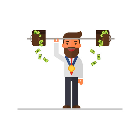 businessman raises a bar-bell with briefcases full of money Illustration