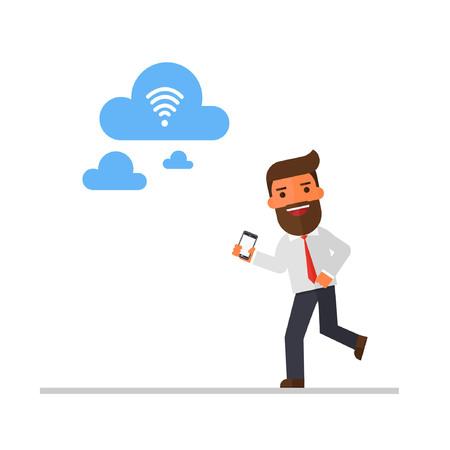 Businessman run to find Wifi.