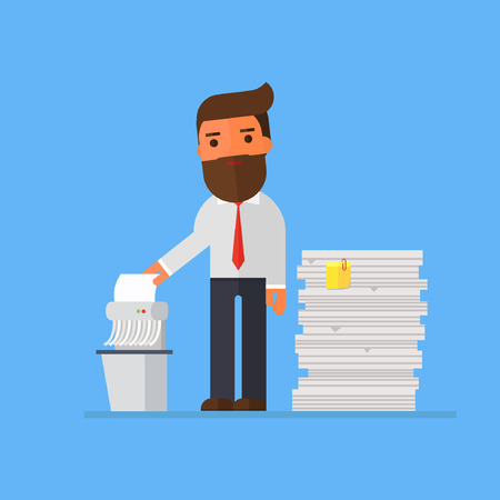 businessman shredding old files Vettoriali