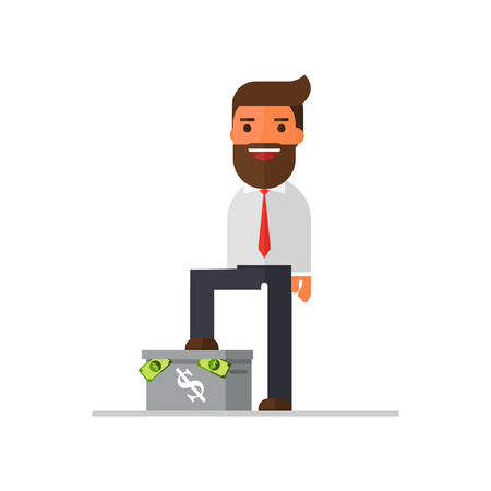 businessman standing on box have money