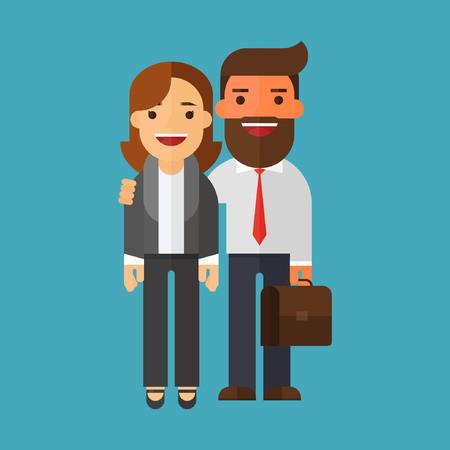 business couple standing together man hugging woman shoulder