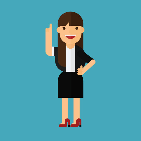 a happy business woman pointing finger Illustration