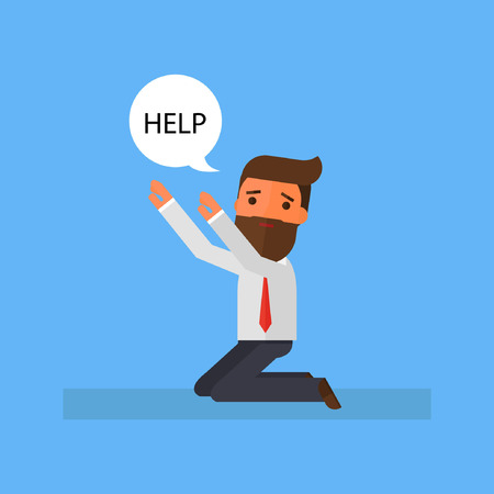 Businessman is on his knees and ask for help Illustration