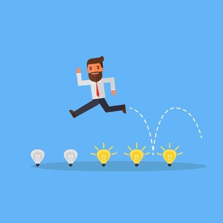 Businessman jump on light bulbs Stock Illustratie