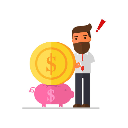 Businessman try to put a large coin into a piggy bank