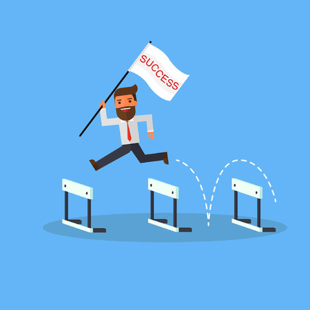 businessman with flag success jump over hurdles