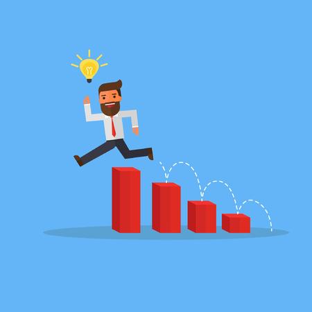 businessman with idea bulbs jump over charts 向量圖像